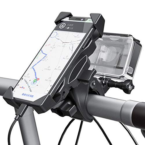 Universal Bike Phone Holder, 360° Rotatable Holder Adjustable Detachable Bicycle Motorcycle Scooter Phone Mount for 4