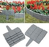 Hoimlm – Lote de 40 bordes de jardín de 10 m – Bordes de jardín efecto piedra gris – Bordes de césped de aspecto piedra para bordes de césped de jardín