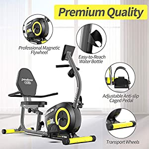 pooboo Recumbent Exercise Bikes Stationary Bikes Recumbent Bikes Magnetic Resistance Indoor Cycling Bike with Monitor