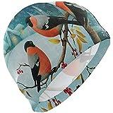 Albero di Natale Uccello Inverno Fiocco di neve Cuffia da nuoto Cuffia da bagno impermeabile Cuffia da bagno solida per uomo Donna Adulti Giovani, 3D Design ergonomico
