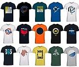 Jack and Jones Herren T-Shirt Slim Fit mit Aufdruck im 3er Oder 6er Mix Pack/Set mit Rundhals Marken Sale S M L XL XXL (3er Mix Pack, M)