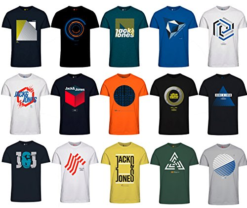 Jack and Jones Herren T-Shirt Slim Fit mit Aufdruck im 3er Oder 6er Mix Pack/Set mit Rundhals Marken Sale S M L XL XXL  (3er Mix Pack, L)