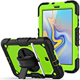 Samsung Galaxy Tab A 8.0 2018 SM-T387 Case, Full-Body Drop &Shock Proof Armor Case with 360 Rotating Stand [Screen Protector] Hand Strap for Galaxy Tab A 8.0 Model SM-T387 - Green+Black