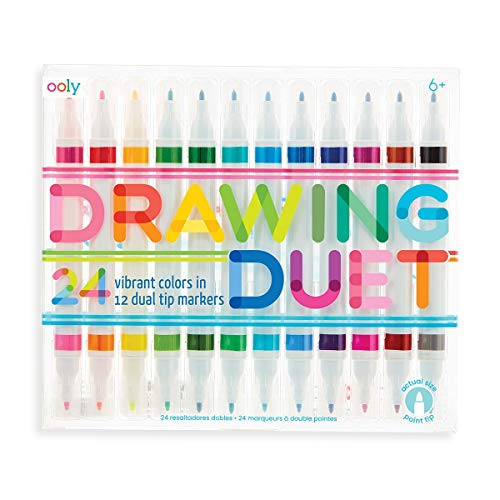 OOLY, Drawing Duet, Double Ended Markers in 24 Colors - Set of 12