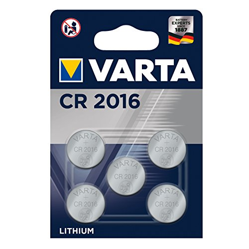 Varta CR2016 Lithium Knopfzellen 3V Batterie in Original Blisterverpackung, 5er Pack