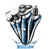 Hatteker Professional Electric Shaver Razor For Men 4 in 1 Beard Trimmer Wet Dry Rotary Shaver Cordless Hair Trimmer Nose Hair Trimmer Facial Cleaning Brush Waterproof USB Rechargeable Best Gift