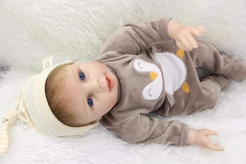 LIDE Handgemachtes Kinder Spielzeug Geburtstag Geschenke Reborn Babys Puppe offene Augen Junge 22 Zoll 55 cm Baby Doll Weißhe Silikon Vinyl Magnetismus