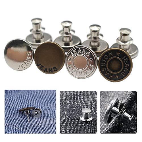 ByaHoGa 8 pezzi bottoni istantanei di ricambio per jeans, bottoni rimovibili, senza cuciture, per pantaloni, jeans, cucito, artigianato, vestiti fai da te (17mm)