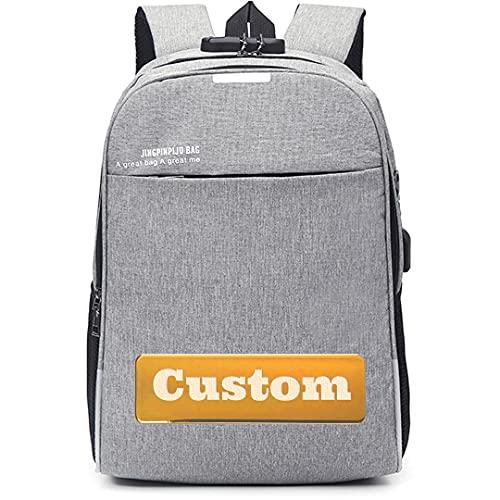 FireH Borsa per zaino scolastico per nome personalizzato per laptop da 15.6 pollici antifurto zaino per laptop Donne (Color : Grey, Size : One size)