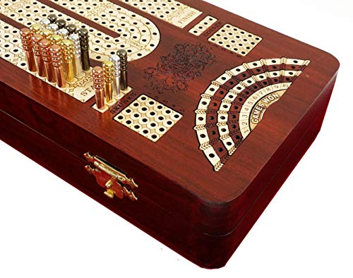 14' 4 Track Continuous Cribbage Board W/ Card Storage Maple Tracks on Bloodwood - Corner, Skunk & Games Won