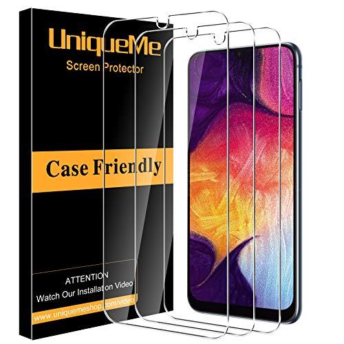 [3 Pack] UniqueMe Protector de Pantalla Compatible con Samsung Galaxy A50 / A50s / A30 / A20 / M31 Cristal Templado,[ 9H Dureza ] [Sin Burbujas] HD Film Vidrio Templado