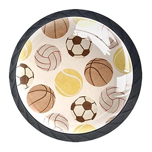 (4 piezas) pomos de cajón para cajones, tiradores de cristal para gabinete con tornillos para armario, hogar, oficina, armario, deporte, fútbol, baloncesto, voleibol, 35 mm