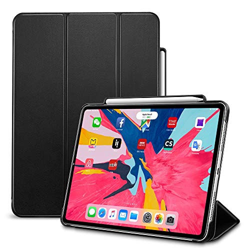 ESR Case for iPad Pro 12.9' 2018 (3rd Gen) with Pencil Holder, [Supports 2nd Gen Pencil Charging] Trifold Smart Protective Case with Auto Sleep/Wake, for iPad Pro 12.9' 2018, Black