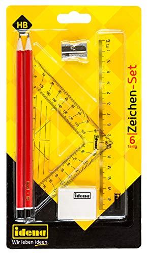 Idena 10061 - Zeichenset, 6-teilig mit 2 Bleistiften HB, Lineal 16 cm, Zeichendreieck 15 cm, Anspitzer, Radiergummi, 1 Set