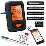 CloudBBQ CL18 - Smart Bluetooth BBQ Grill Thermometer - 4 Probes Outdoor BBQ Meat Smoker - Wireless Remote Alert iOS Android Phone App (Black)