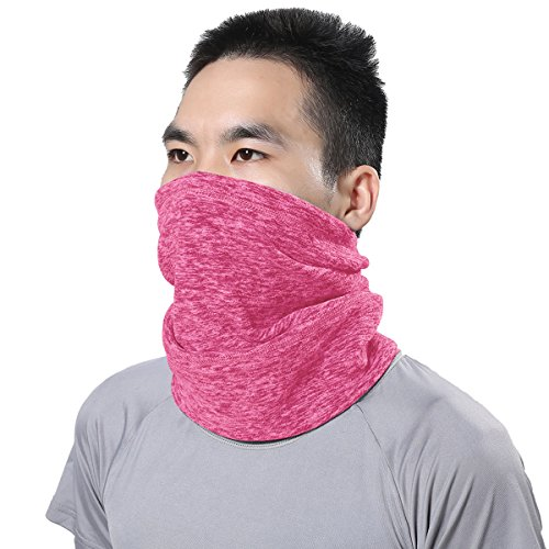 JIUSY 1 Pack - Soft Fleece Thermal Neck Gaiter Neck Warmer Face Mask Windproof Anti-UV Protection Cover for Motorcycle Cycling Fishing Hunting Winter Outdoor Sports Suitable for Men Women Rose Red