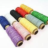 ULTNICE Cuerda de cera de costura plana hilo encerado 150D 50 m hecho a mano costuras 10 piezas
