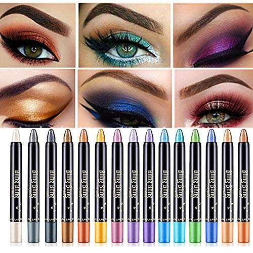 15 Colors Eyeshadow Stick Petansy Waterproof Eye Shadow Pencil Shimmer Glitter Eyeshadow Crayon Long Lasting Eyeshadow Stick Sets(A)