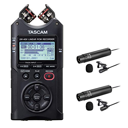 Tascam DR-40X Four-Track Digital Audio Recorder with Boya BY-M4C & BY-M4OD Lavalier Microphone Bundle