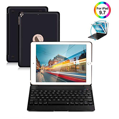 iPad Keyboard Case 9.7 for iPad 2018 (6th Gen) iPad 2017 (5th Gen) iPad Pro 9.7 iPad Air 2 & 1 Wireless Keyboard Auto Sleep/Wake iPad Case with Keyboard (Black