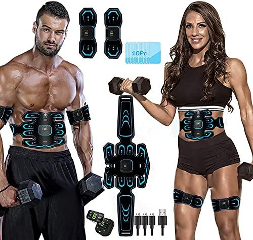 ROOTOK Electrostimulateur Musculaire,Ceinture Abdominale Electrostimulation, 6 Modes 10 Niveaux pour Stimulateur Musculaire Femme Homme Entraînement Abdominal Rechargeable