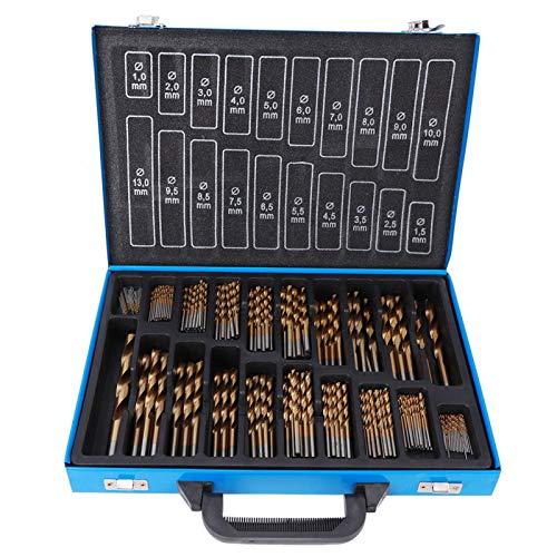 Juego de brocas para metal de 202 piezas, broca helicoidal de 1 a 10 mm Juego de brocas HSS con caja de almacenamiento para metales, acero, acero fundido, plástico, madera, acero inoxidable, revestimi