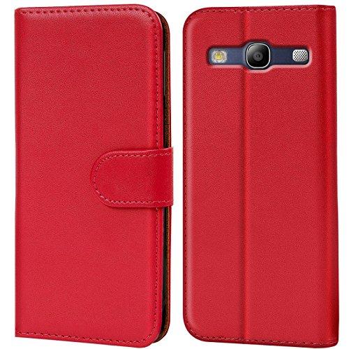 Verco Galaxy S3 Hülle, Handyhülle für Samsung Galaxy S3 Neo Tasche PU Leder Flip Hülle Brieftasche - Rot