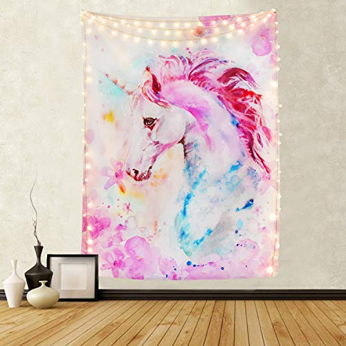 Pink Unicorn Tapestry Watercolor Print Wall Tapestry Hippie Art Tapestry Wall Hanging for Home Decor Bedroom Living Room Dorm Room (Pink Unicorn, 59 × 59 Inches)