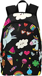 Unicorns Rainbows Stars Gems Lollipops Hearts Casual Daypack Travel Bag College School Backpack for Mens and Women