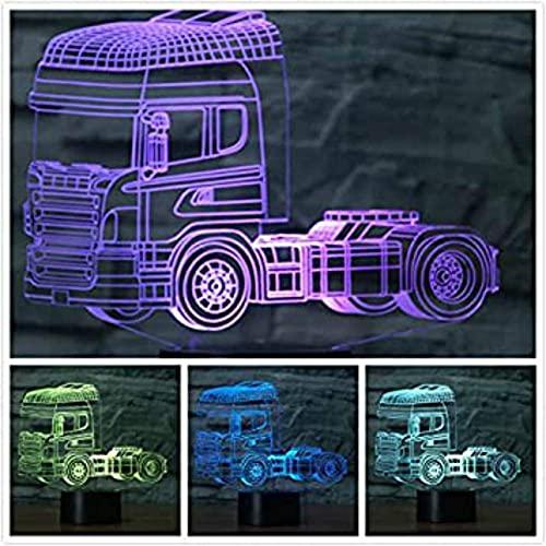 3D camión tractor faro ilusión óptica luz nocturna 7 cambio de color interruptor táctil de color decoración de mesa luz regalo de Navidad perfecto juguete USB