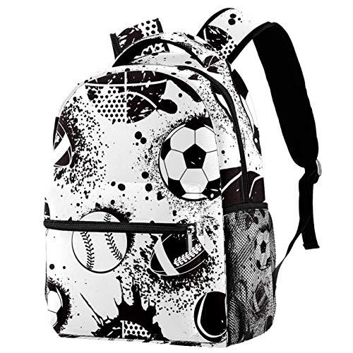 Mochila de fútbol y béisbol con patrón de baloncesto para la escuela, mochila de viaje informal para mujeres, adolescentes y niñas