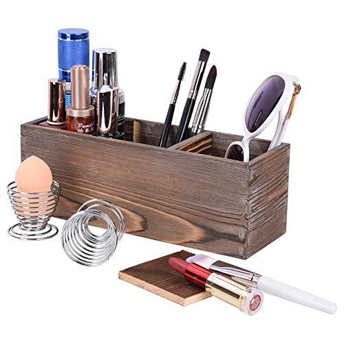 Pinselhalter Kosmetik Holz mit 2 Make-up Schwämmehalter, Alter Stil Verstellbare 3 Schlitze Schmink Aufbewahrung für Pinsel, Lidschatten, Lippenstift, Puder und Nagellack