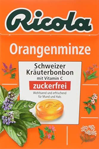 Ricola Orangenminze, Schweizer Kräuterbonbon, 10 x 50g Böxli, ohne Zucker, Wohltuend und erfrischender Genuss