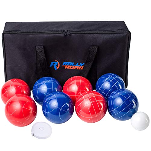Bocce Ball Game Set for Adults, Families – 107 mm - Complete Bocce Yard and Lawn Games with Carrying and Storage Case by Rally and Roar - Fun Outdoor, Backyard, Family, Beach Game