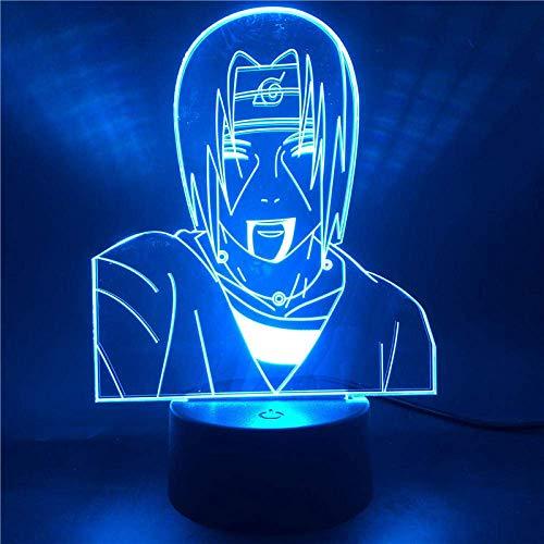Lámpara de ilusión 3D Luz de noche Led Anime Naruto Uchiha Itachi para niños Colorul Naruto Decoración de dormitorio para niños Lámpara de mesa Regalos para niños