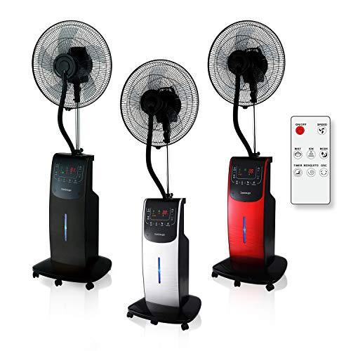 VENTILADOR Digital Dardaruga WFD NEBULIZADOR (tanque XXL de 3.10 litros) Ionizador, Antimosquitos y Repelente de Insectos, Compartimento AROMA, Temporizador, Control Remoto, Oscilación, Ruedas (ROJO)