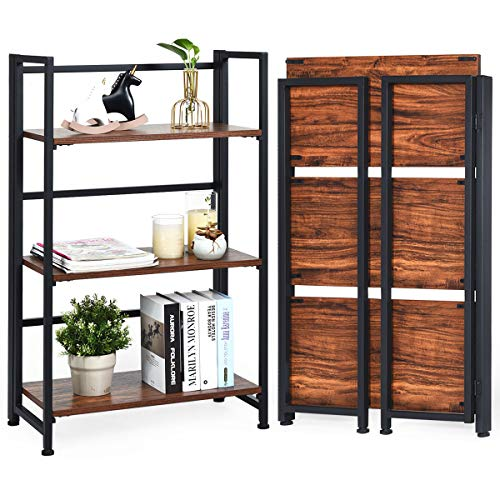Giantex 3-Tier Folding Bookshelf Standing Shelf Units Display Rack Storage Shelf Industrial Style Utility Shelving with Metal Frame & Wood Layer (Rustic Brown, 23.5