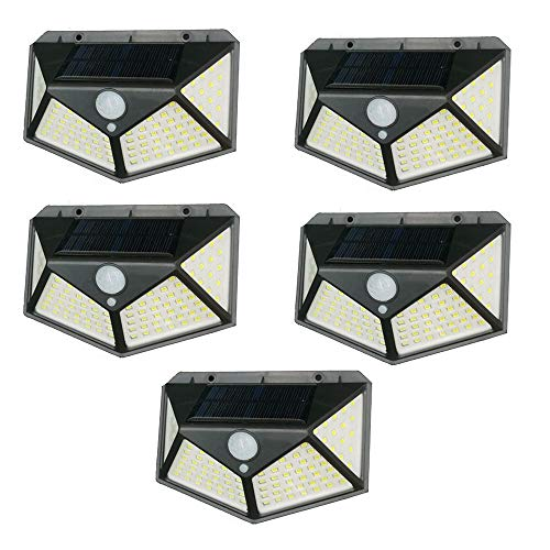Kit 5 Luminária Energia Solar Parede 100 Led Sensor Presença 3 Funções Lampada