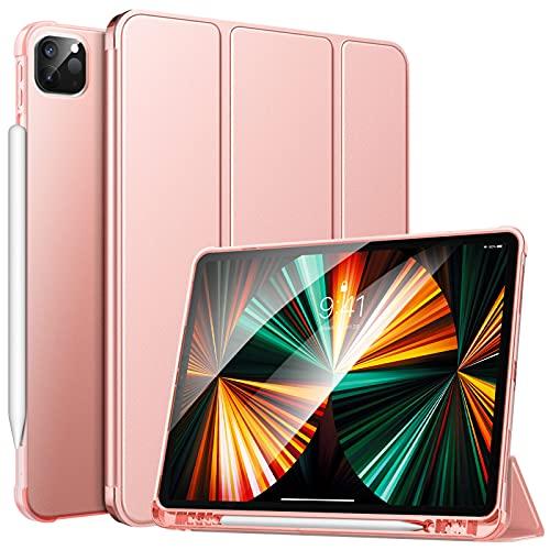 MoKo Custodia Protettiva per Tablet iPad Pro 12.9 2021, Case in TPU con Supporto Integrato, Avvio / Arresto Auto, Accessori per Tablet, Protezione Urti, Graffi, Cover per iPad Pro 12.9 2021, Oro Rosa