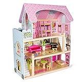 Kledio Puppenhaus aus Holz für Mädchen und Jungen ab 3 Jahren, große Puppenstube, Kinder...