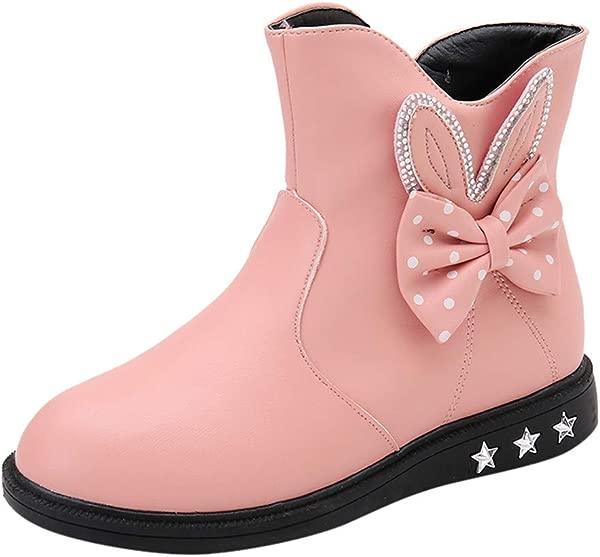 Kauneus Girls Round Toe Lovely Rabbit Side Zipper Winter Boots Anti Slip Leather Snow Boot Toddler Little Kid Big Kid