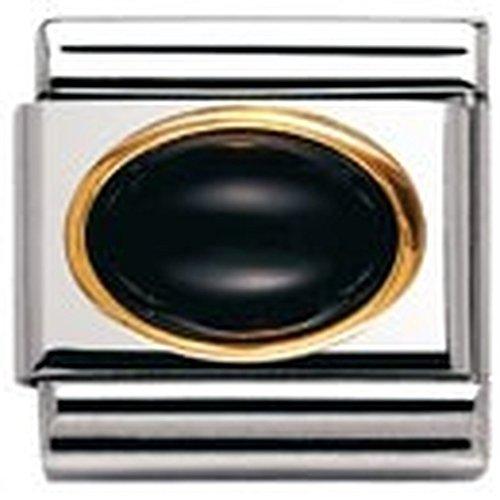 Nomination Composable Classic Edelsteine OVAL aus Edelstahl und 18K-Gold (ACHAT SCHWARZ) 030502