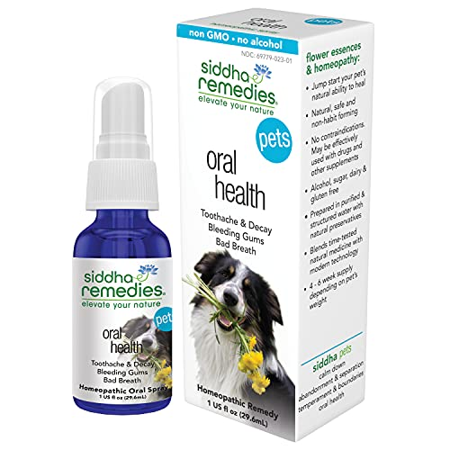 Siddha Remedies Oral Health for Pets   Cat Dog Oral Care for Toothache Decay   Breath Spray for Bad Breath  Healthy Gums Dogs Tooth Care   100% Natural Homeopathic Remedy Cell Salts Flower Essences