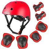 KAMUGO Kids Helmet, Toddler Helmet with Sports Protective Gear Set Knee Elbow Wrist Pads for Age 5-8, Bike Skateboard...