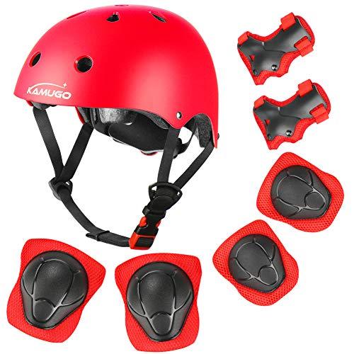 KAMUGO Kids Adjustable Helmet, with Sports Protective Gear Set Knee Elbow Wrist Pads for Toddler Age 3-8 Boys Girls, Bike Skateboard Hoverboard Scooter Rollerblading Helmet Set (Red)