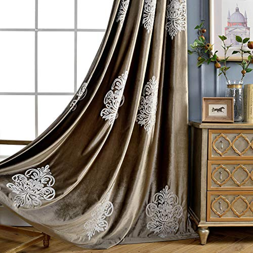 VOGOL Super Soft Luxury Velvet Blackout Curtains, Grommet White Flower Embroidered Soft Chocolate Brown Flannel Draperies for Living Room, 52x96, 2 Panels, Noise Reduction
