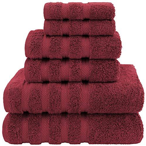 American Soft Linen- Bath Linen Set (6 Pc Towel Set, Burgundy)