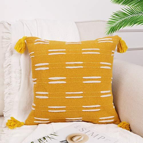 Sungea Farmhouse - Funda de cojín cuadrada para sofá, sala de estar (45,7 x 45,7 cm), color amarillo