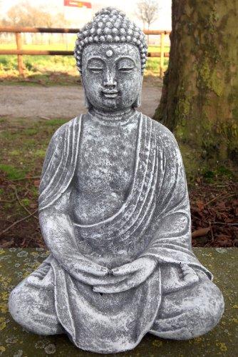 Steinfigur Buddha, Frostfest bis -30°C, massiver Steinguss