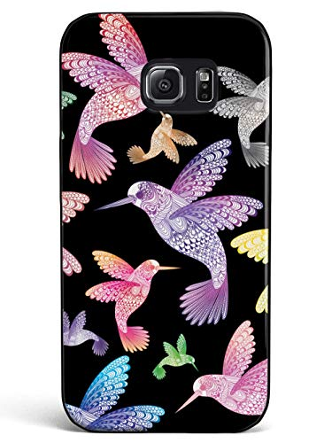 Inspired Cases - 3D Textured Galaxy S6 Case - Rubber Bumper Cover - Protective Phone Case for Samsung Galaxy S6 - Zentangle Hummingbirds - Multicolor - Black